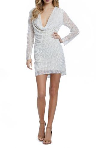 WOMEN Mac Duggal Pearly Cowl Neck Long Sleeve Cocktail Dress