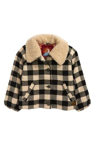 KIDSS Scotch R'Belle Check Faux Shearling Trim Jacket (Little Girl & Big Girl)