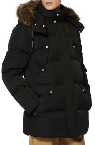 MEN Marc New York Belmont Water Resistant Hooded Down & Feather Fill Coat with Faux Fur Trim