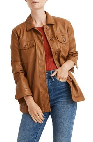 WOMEN Madewell Faux Leather Chore Jacket