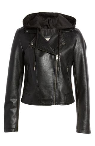 WOMEN Levi's Fleece Hood Faux Leather Moto Jacket
