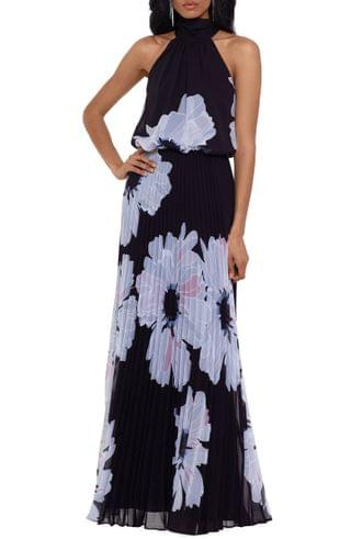 WOMEN Betsy & Adam Floral Mock Neck Pleated Chiffon Gown