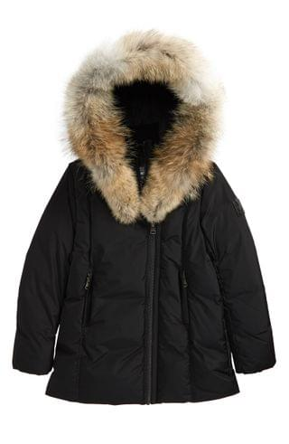 KIDSS Mackage Quilted Down Puffer Jacket with Genuine Coyote Fur Trim (Big Girl)