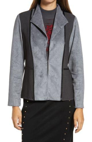 WOMEN Ming Wang Faux Suede Mixed Media Jacket