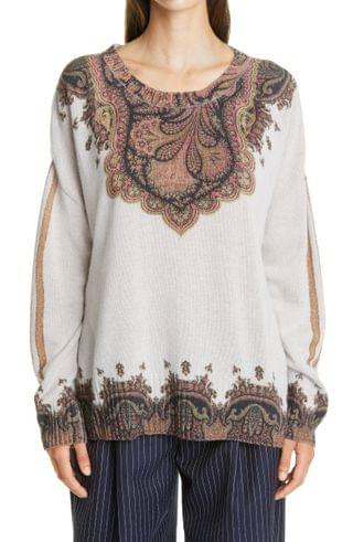 WOMEN Etro Placed Paisley Print Wool & Cashmere Sweater
