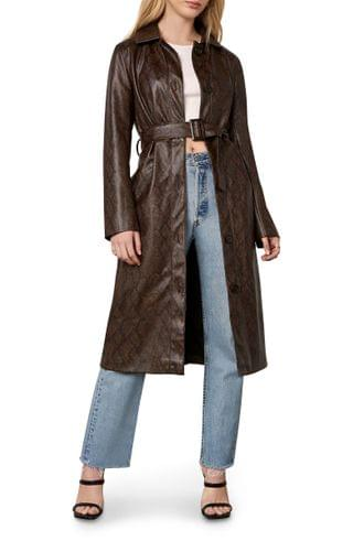 WOMEN cupcakes and cashmere Julian Snake Embossed Faux Leather Trench Coat