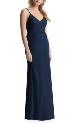 WOMEN After Six Cowl Back Chiffon Trumpet Gown