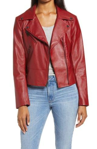 WOMEN French Connection Faux Leather Moto Jacket