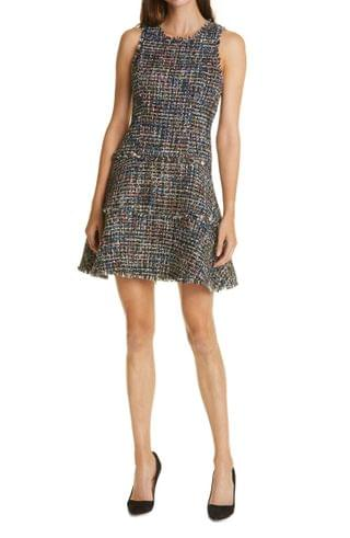 WOMEN LIKELY Multicolor Tweed Sleeveless Fit & Flare Dress