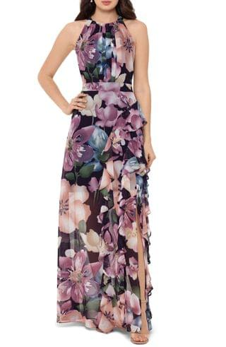 WOMEN Betsy & Adam Floral Ruffle Slit Chiffon Halter Gown