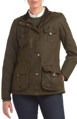 WOMEN Barbour Winter Defense Waxed Water Resistant Utility Jacket