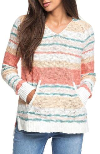 WOMEN Roxy Airport Vibes Stripe Hooded Sweater