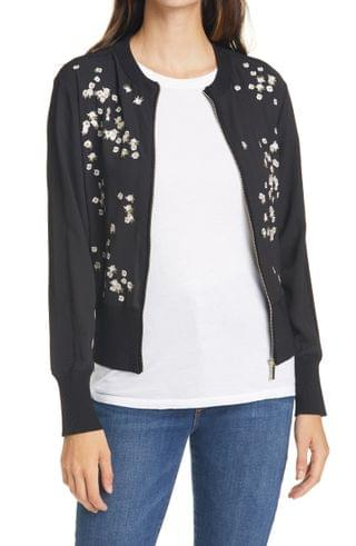 WOMEN Ted Baker London Priyaa Floral Embroidery Zip Front Jacket