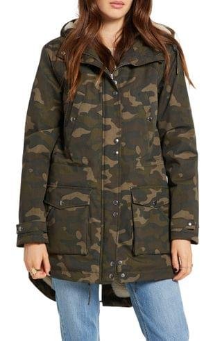WOMEN Volcom Walk On by 5K Nuts Hooded Parka with Faux Shearling Lining