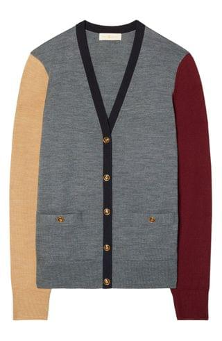 WOMEN Tory Burch Madeline Colorblock Merino Wool Cardigan