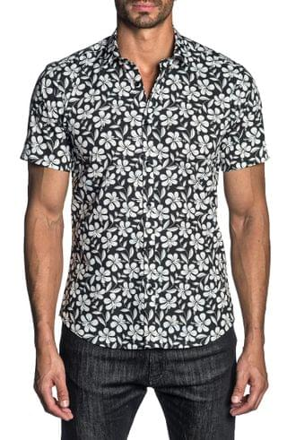MEN Jared Lang Regular Fit Floral Short Sleeve Button-Up Shirt