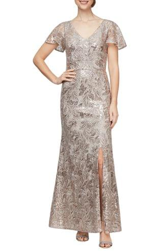 WOMEN Alex Evenings Beaded & Embroidered A-Line Gown