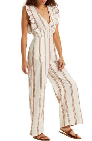 WOMEN Billabong Coming Home Stripe Ruffle Jumpsuit