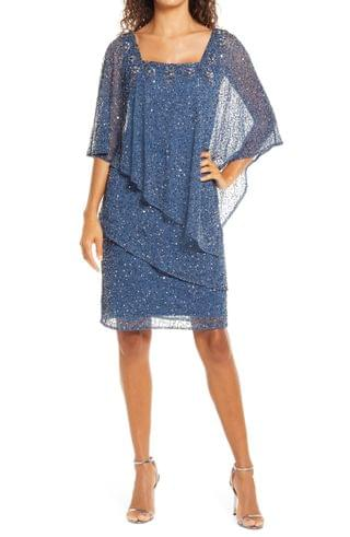 WOMEN Pisarro Nights Beaded Tiered Mesh Cocktail Dress