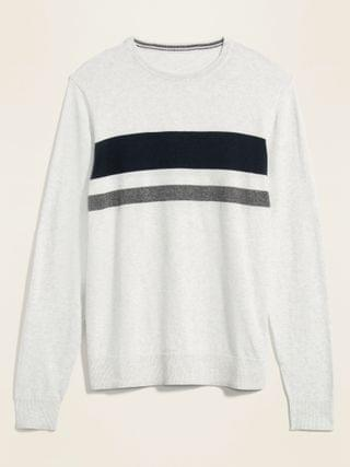 MEN Chest-Block Crew-Neck Sweater for Men