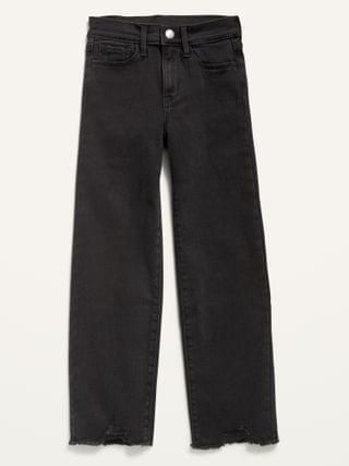 KIDS High-Waisted Built-In Tough Frayed-Hem Straight Black Jeans