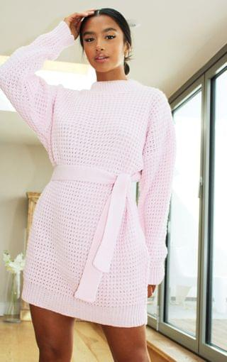 WOMEN Petite Baby Pink Soft Touch Belted Knitted Jumper Dress