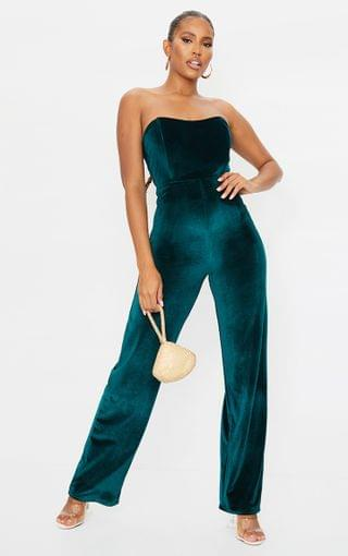 WOMEN Emerald Green Boning Detail Velvet Bandeau Jumpsuit