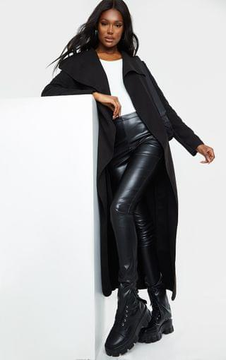 WOMEN Tall Black Maxi Length Oversized Waterfall Belted Coat
