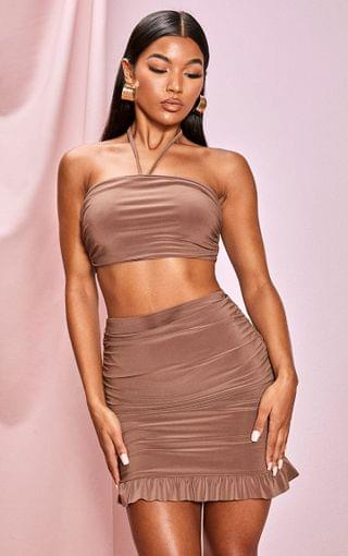 WOMEN Chocolate Slinky Ruched Detail Halterneck Bandeau Top