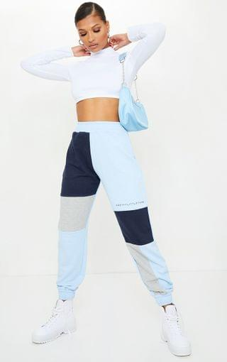 WOMEN PRETTYLITTLETHING Baby Blue Colourblock Detail Casual Joggers