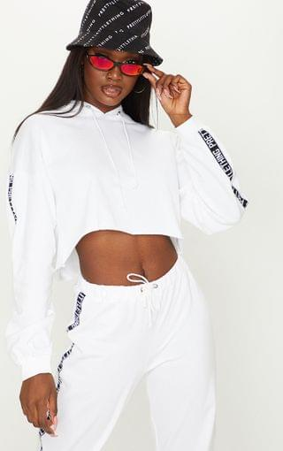 WOMEN PRETTYLITTLETHING Tall White Cropped Hoodie