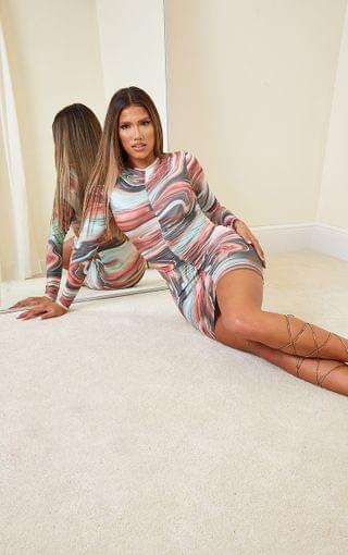 WOMEN Shape Multi Marble Print Ruched Front Long Sleeve Bodycon Dress