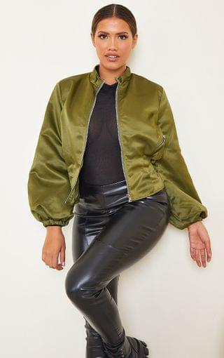 WOMEN Shape Khaki Corset Detail Bomber Jacket