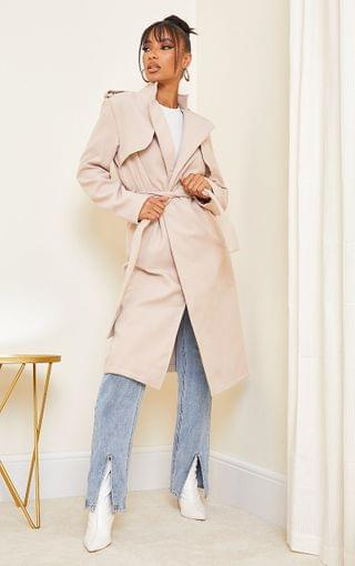 WOMEN Sand Wool Military Belted Midi Coat