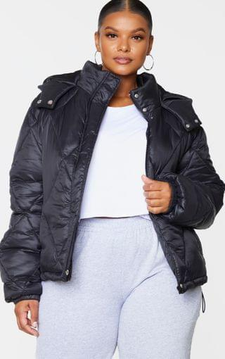 WOMEN Plus Black Nylon Diamond Quilted Hooded Puffer Jacket