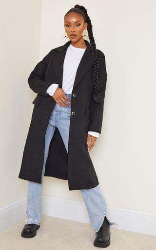 WOMEN Black Wool Pointed Collar Pocket Front Midi Coat