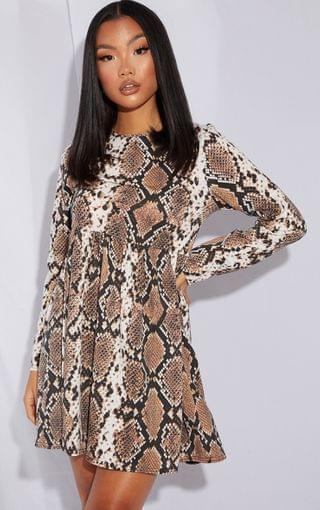 WOMEN Petite Stone Long Sleeve Snake Smock Dress