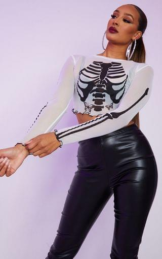 WOMEN White Mesh Skull Printed Crop Top