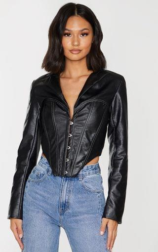 WOMEN Black Faux Leather Corset Point Hem Jacket
