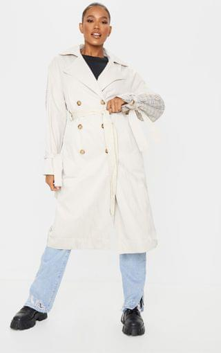 WOMEN Stone Contrast Back Midi Belted Trench Coat