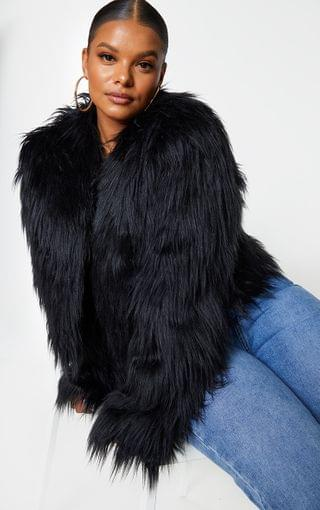 WOMEN Plus Liddie Black Faux Fur Shaggy Cropped Jacket
