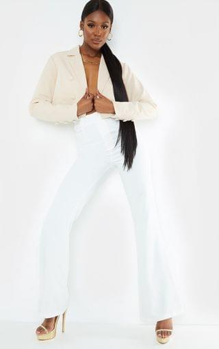 WOMEN Tall White Fitted Flare Suit Pants