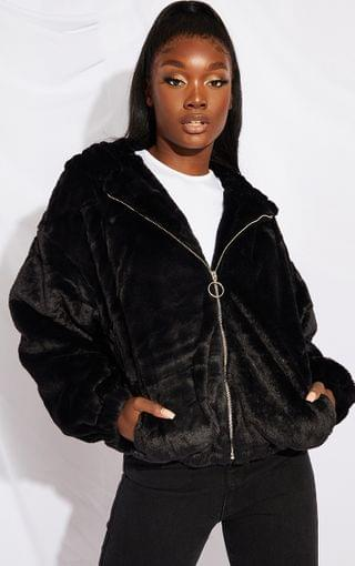 WOMEN Tall Black Faux Fur Balloon Sleeve Hooded Jacket