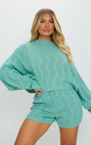WOMEN Sage Cable Knitted Batwing Jumper And Short Set