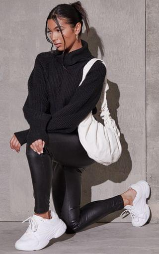 WOMEN Black Recycled Roll Neck Oversized Longline Sweater