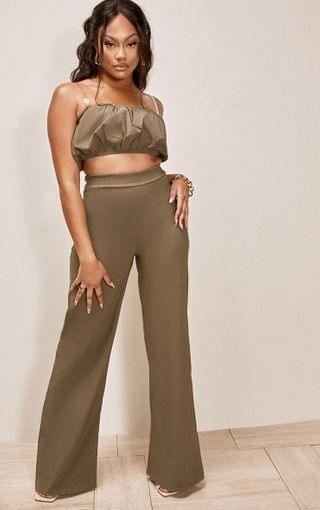 WOMEN Olive Green High Waisted Woven Stretch Wide Leg Pants