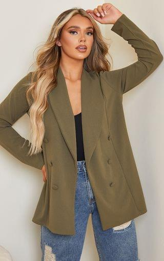 WOMEN Khaki Triple Breasted Oversized Crepe Blazer
