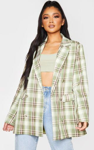 WOMEN Green Woven Checked Double Breasted Oversized Blazer