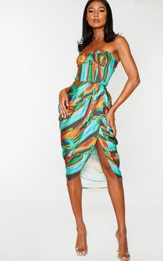 WOMEN Blue Multi Abstract Print Woven Ruched Side Midi Skirt