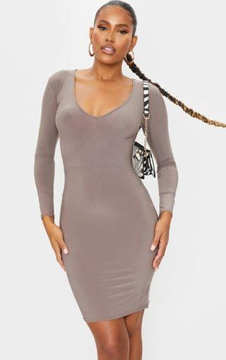 WOMEN Taupe Long Sleeve Extreme Plunge Bodycon Dress